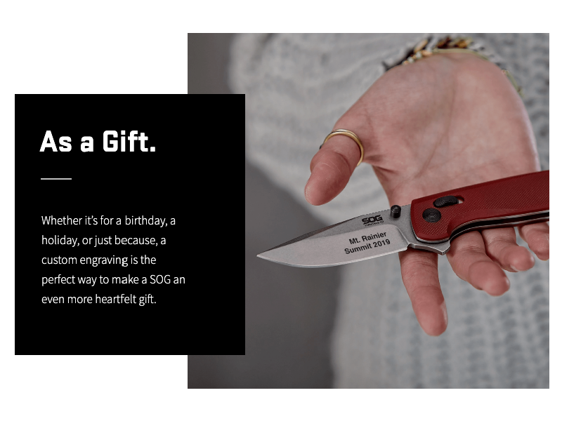 SOG KNIVES Engraving Holiday Campaign 2019