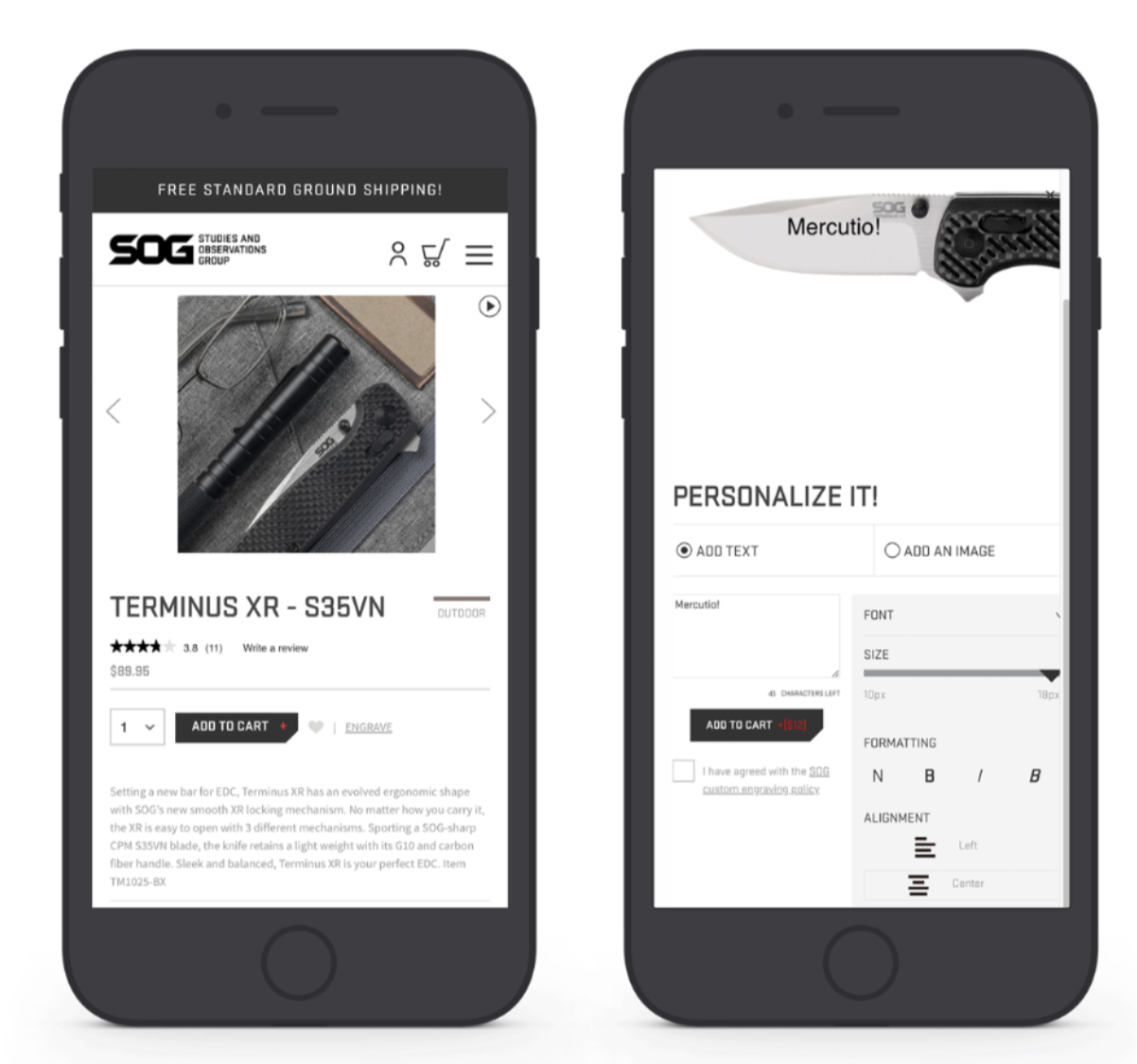 SOG Mobile Product Detail Page
