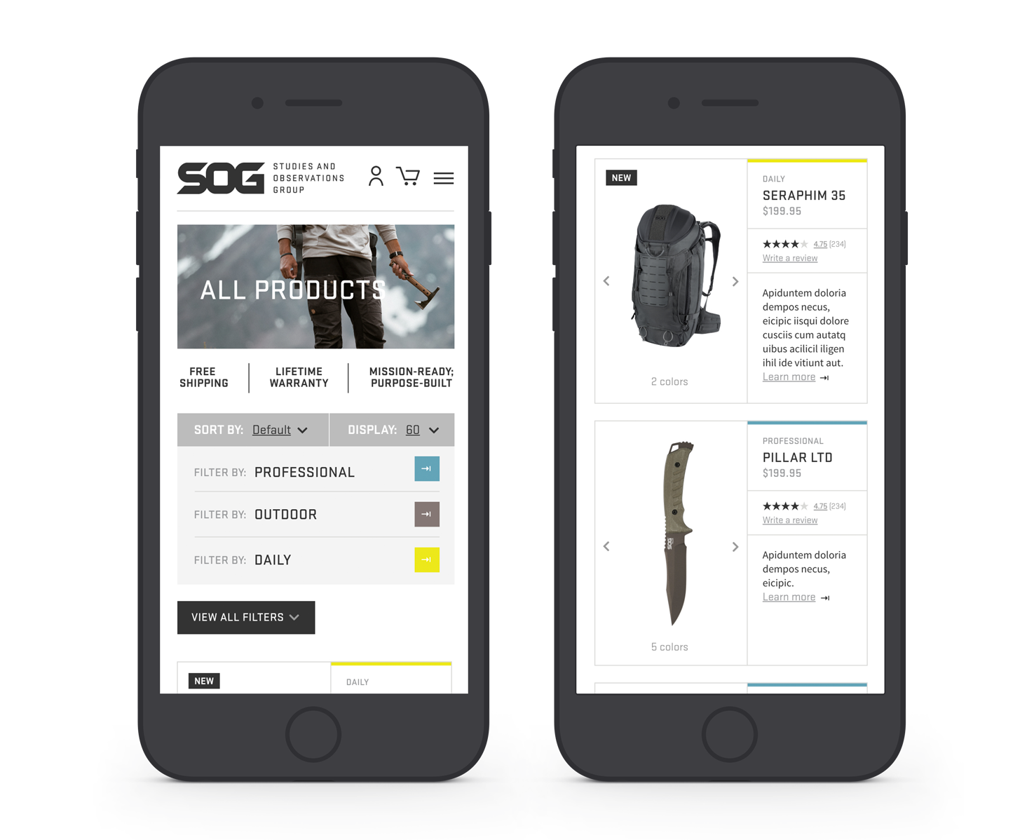 SOG Mobile Product List Page